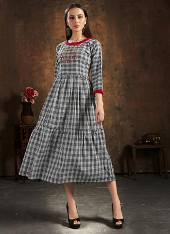 Casual Wear Grey Hand Embroidery Work Pure Cotton Kurti