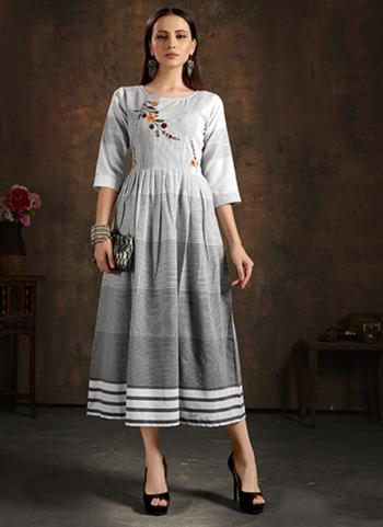 Casual Wear Light Grey Hand Embroidery Work Pure Cotton Kurti