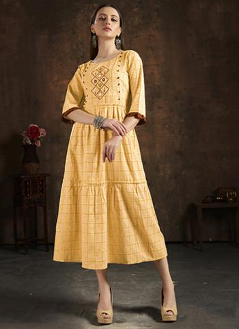 Casual Wear Yellow Hand Embroidery Work Pure Cotton Kurti
