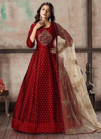 Wedding Wear Maroon Butti Work Tapeta Silk Readymade Anarkali Suit