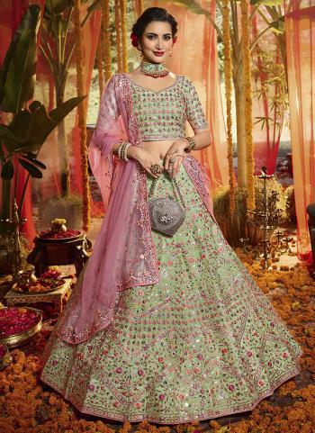 Wedding Wear Light Green Pure Organza Thread Work Lehenga Choli