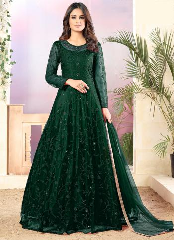 Party Wear Green Net Heavy Embroidery Work Anarkali Suit