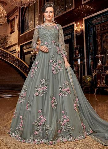 Bridal Wear Grey Net Heavy Embroidery Work Anarkali Suit