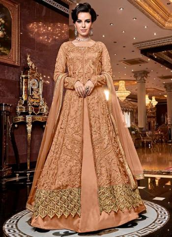 Bridal Wear Peach Net Heavy Embroidery Work Abaya Suit