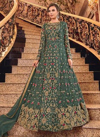 Bridal Wear Turquoise Net Heavy Embroidery Work Abaya Suit