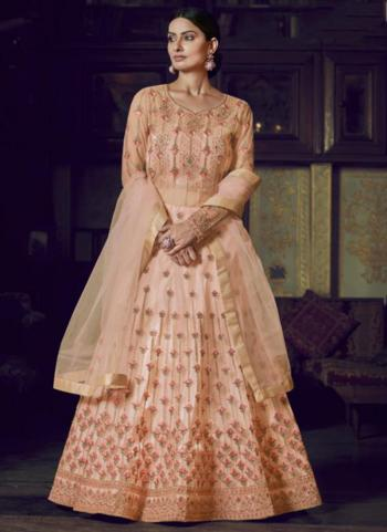 Wedding Wear Peach Net Diamond Work Anarkali Suit