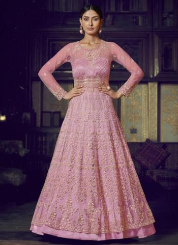 Wedding Wear Pink Net Diamond Work Anarkali Suit