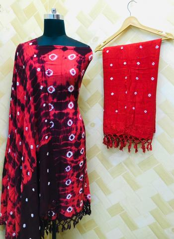 Casual Wear Black And Red Rayon Bandhej Printed Salwar Suit