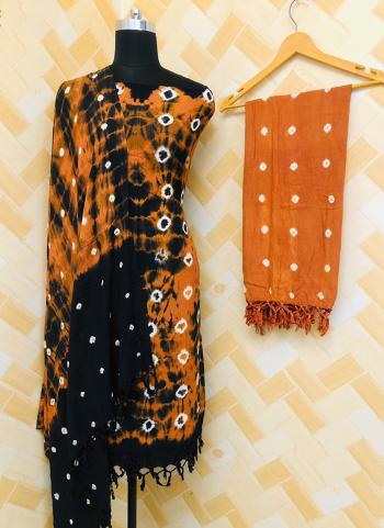 Casual Wear Orange And Black Rayon Bandhej Printed Salwar Suit