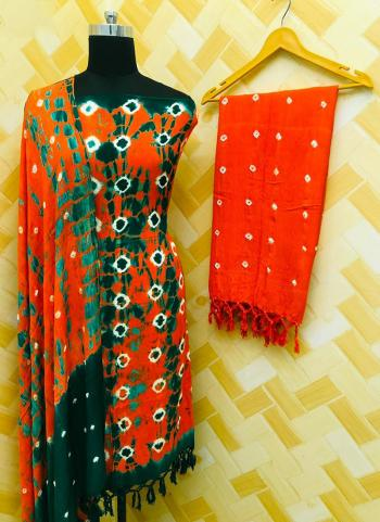 Casual Wear Orange Rayon Bandhej Printed Salwar Suit