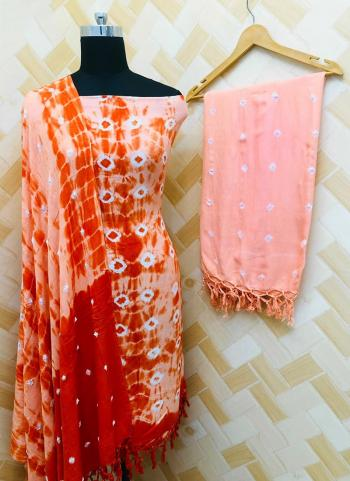 Casual Wear Peach Rayon Bandhej Printed Salwar Suit