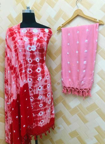 Casual Wear Red And Pink Rayon Bandhej Printed Salwar Suit