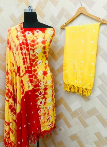 Casual Wear Red And Yellow Rayon Bandhej Printed Salwar Suit