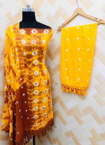 Casual Wear Yellow Rayon Bandhej Printed Salwar Suit