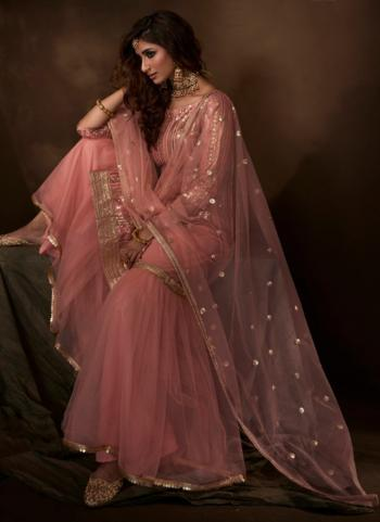 Party Wear Pink Net Sequins Work Sharara Suit