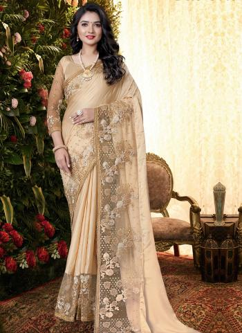 Party Wear Beige Sequins Work Manpasan Silk Saree