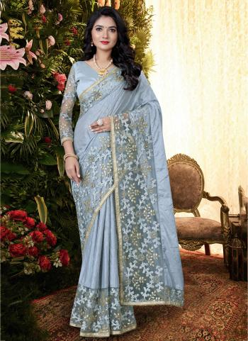 Party Wear Blue Sequins Work Manpasan Silk Saree