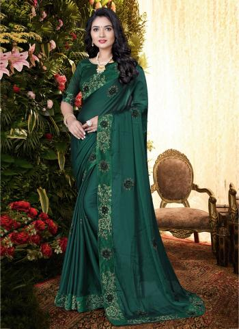 Party Wear Dark Green Sequins Work Rangoli Silk Saree