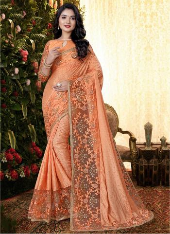 Party Wear Peach Sequins Work Manpasan Silk Saree