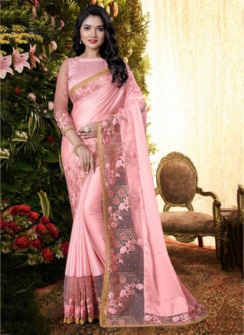 Party Wear Pink Sequins Work Manpasan Silk Saree
