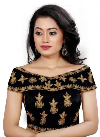 Wedding Wear Black Embroidery Work Tapeta Silk Blouse