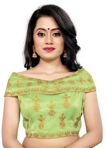 Wedding Wear Light Green Embroidery Work Tapeta Silk Blouse