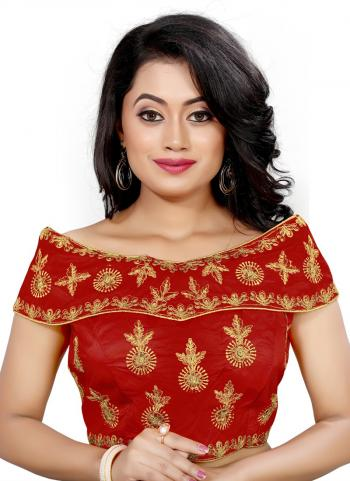 Wedding Wear Maroon Embroidery Work Tapeta Silk Blouse