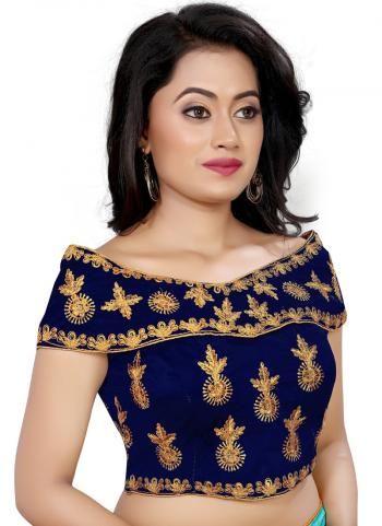 Wedding Wear Navy Blue Embroidery Work Tapeta Silk Blouse