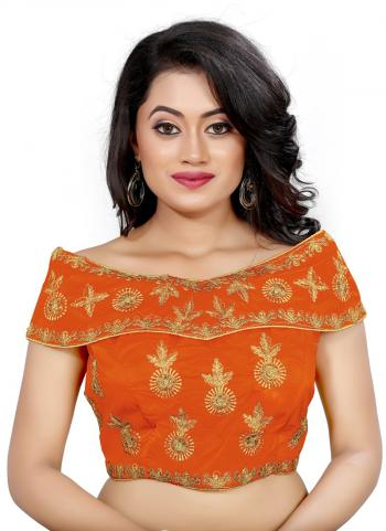 Wedding Wear Orange Embroidery Work Tapeta Silk Blouse