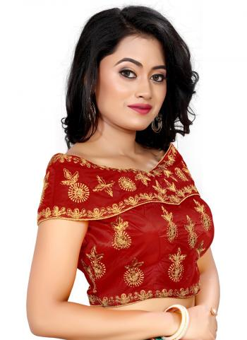 Wedding Wear Red Embroidery Work Tapeta Silk Blouse