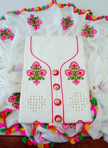 Casual Wear White Stone Work Cotton Salwar Suit