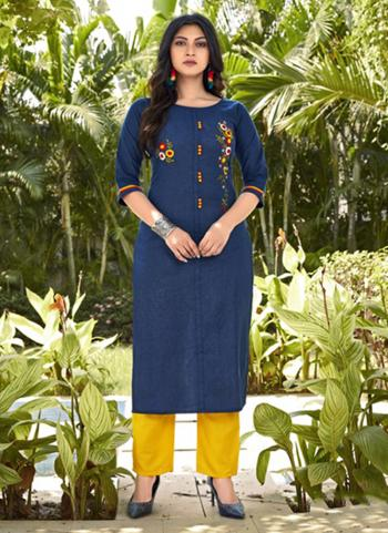 Daily Wear Navy Blue Embroidery Work Cotton Kurti With Pant