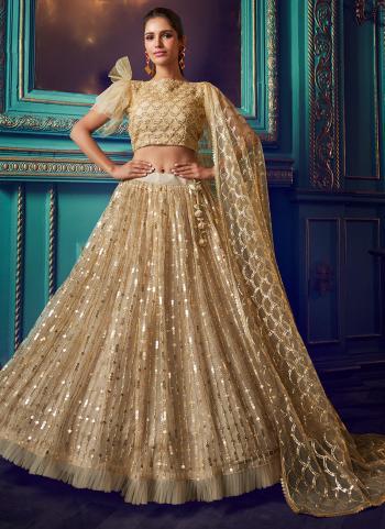 Reception Wear Beige Sequins Work Net Lehenga Choli
