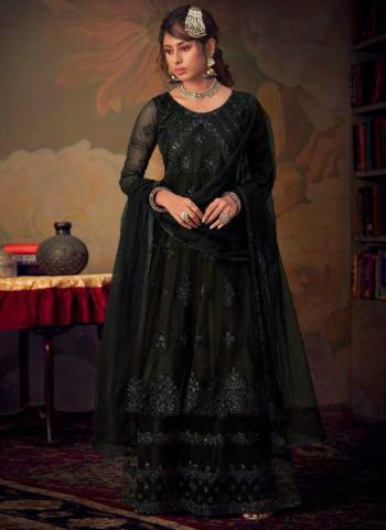 Bridal Wear Black Embroidery Work Net Sharara Suit