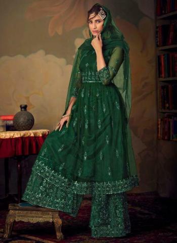 Bridal Wear Dark Green Embroidery Work Net Sharara Suit