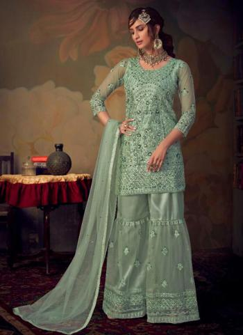 Bridal Wear Pista Green Heavy Embroidery Work Net Sharara Suit