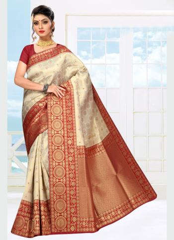 Wedding Wear Maroon Weaving Soft Silk Saree