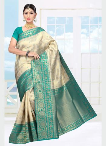 Wedding Wear Teal Weaving Soft Silk Saree