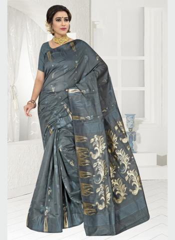 Party Wear Grey Zari Work Chanderi Saree