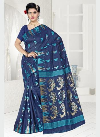 Party Wear Navy Blue Zari Work Chanderi Saree