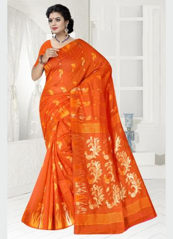 Party Wear Orange Zari Work Chanderi Saree