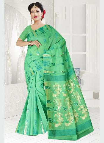 Party Wear Pista Green Zari Work Chanderi Saree