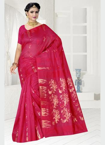 Party Wear Rani Zari Work Chanderi Saree