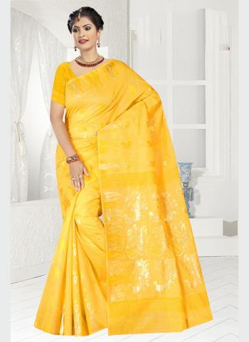 Party Wear Yellow Zari Work Chanderi Saree