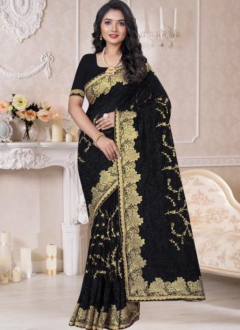 Traditional Wear Black Resham Work Georgette Saree