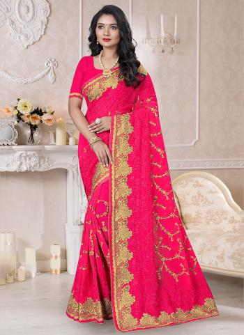 Traditional Wear Dark Pink Resham Work Georgette Saree