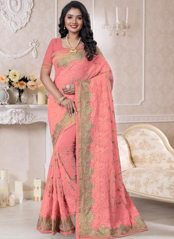 Traditional Wear Light Pink Resham Work Georgette Saree