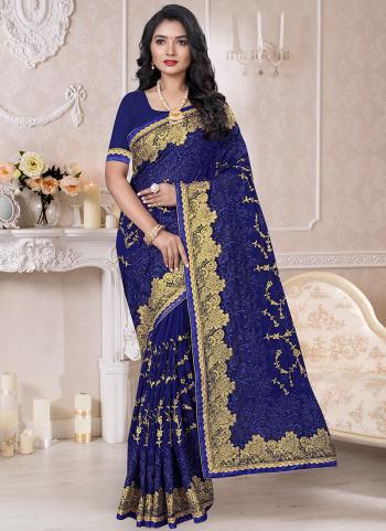 Traditional Wear Navy Blue Resham Work Georgette Saree