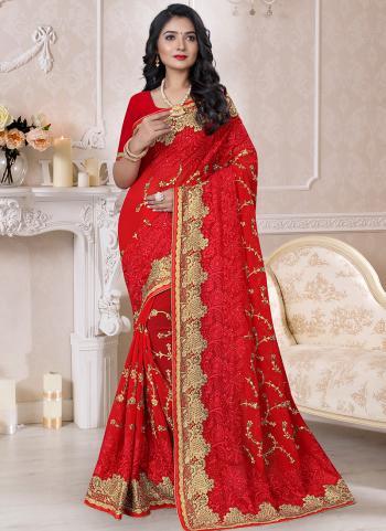 Traditional Wear Red Resham Work Georgette Saree