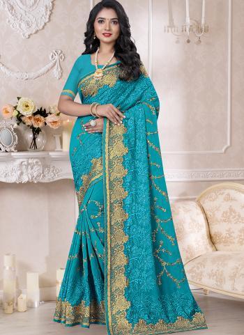 Traditional Wear Sky Blue Resham Work Georgette Saree